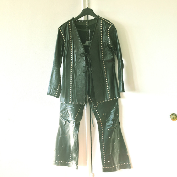 Hand Made Other - Custom Hand Made Studded Leather Pant Suit